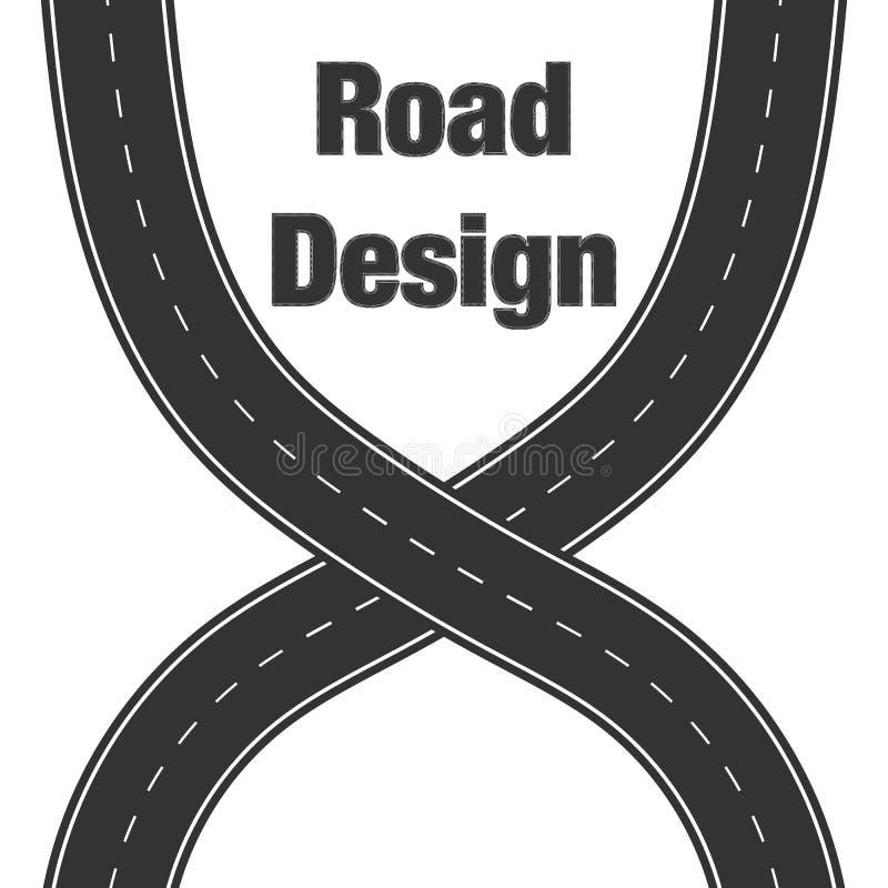 Sistema curvado del icono de los caminos Rama de enrrollamiento de la carretera, cambio de la direcci?n, dise?o geom?trico del ca ilustración del vector