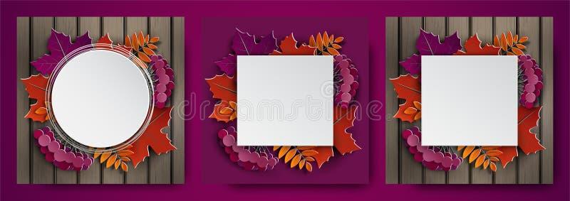 Sistema 3d de las banderas, hojas de otoño para la bandera, cartel, tarjeta de felicitación de la acción de gracias, diseño de la libre illustration