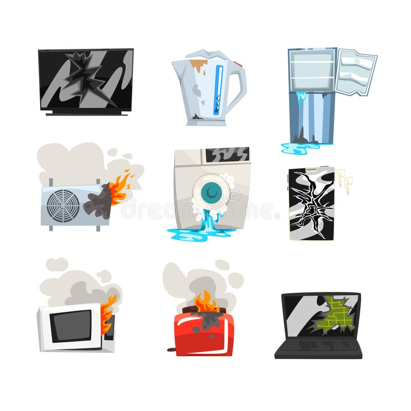 Sistema dañado del aparato electrodoméstico, TV rota, caldera, refrigerador, acondicionador de aire, lavadora, horno de microonda ilustración del vector