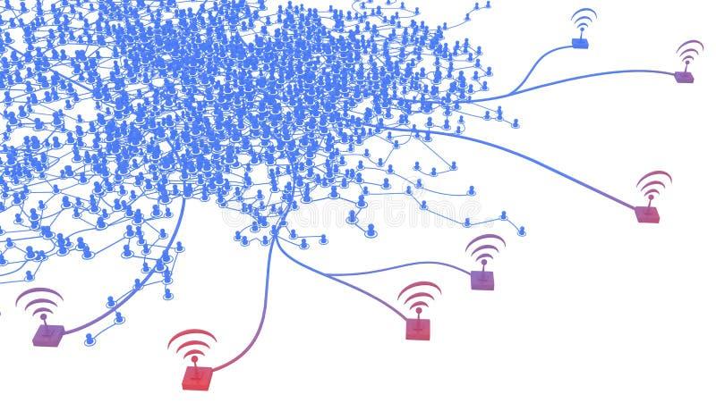 Sistema da conexão, borda sem fio ilustração stock