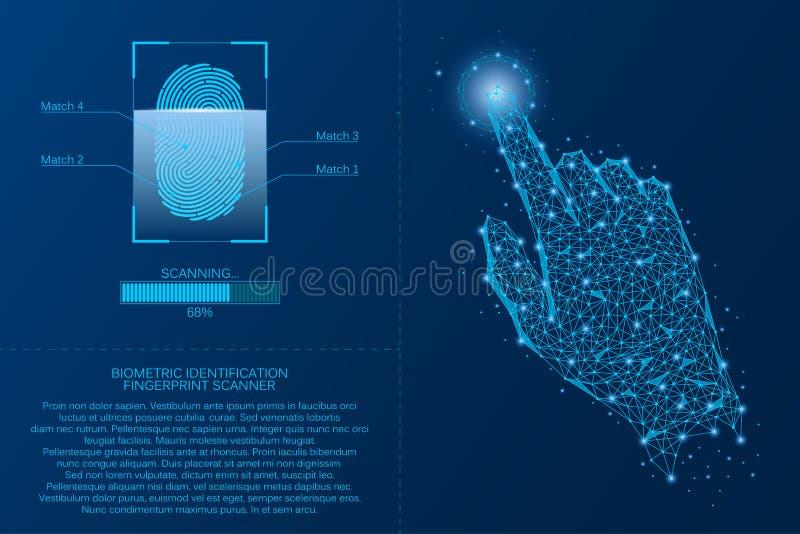 Sistema da exploração da impressão digital Conceito biométrico da tecnologia da identificação Análise da senha digital da impress ilustração royalty free