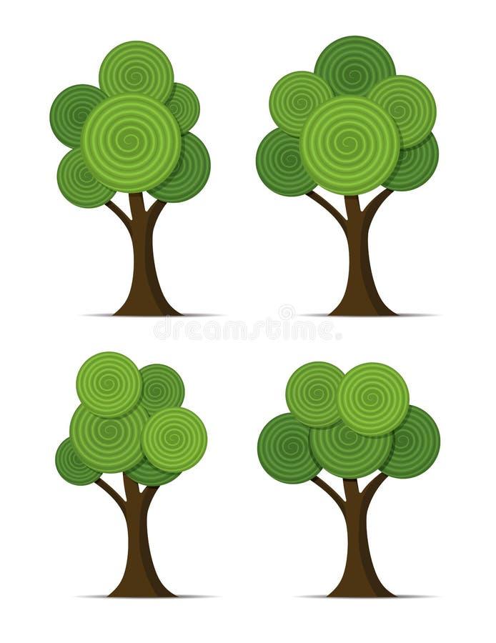 Sistema de árboles abstractos estilizados stock de ilustración