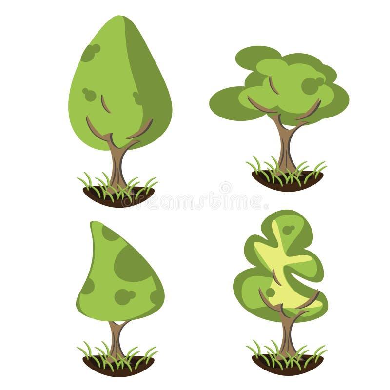 Sistema de árboles estilizados abstractos stock de ilustración