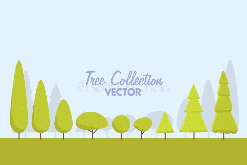 Sistema de árboles estilizados abstractos ejemplo natural libre illustration