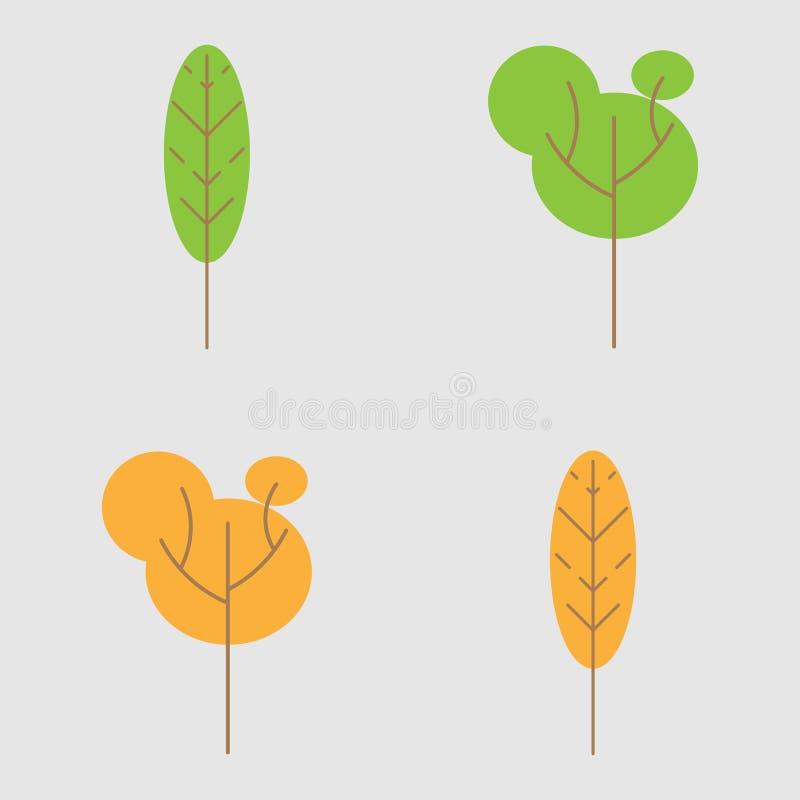 Sistema de árboles estilizados abstractos Estilo primitivo Verde del verano y del otoño y árboles anaranjados ilustración del vector