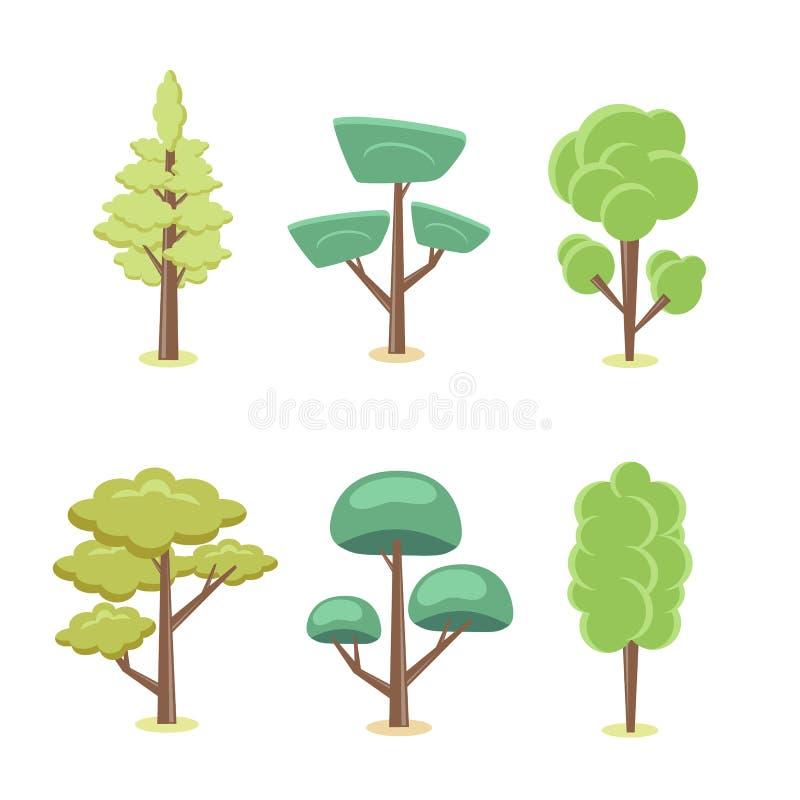Sistema de árboles estilizados del extracto de la historieta ejemplo natural ilustración del vector