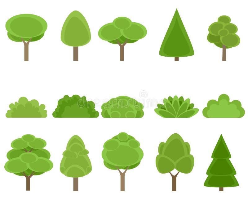 Sistema de árboles y de arbustos ilustración del vector