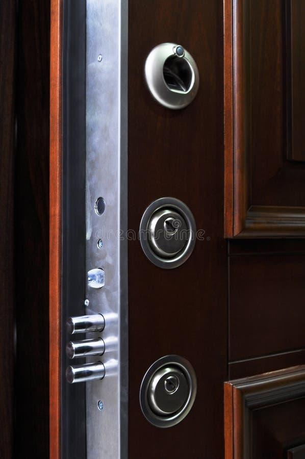Sistema de aço da fechadura da porta fotos de stock