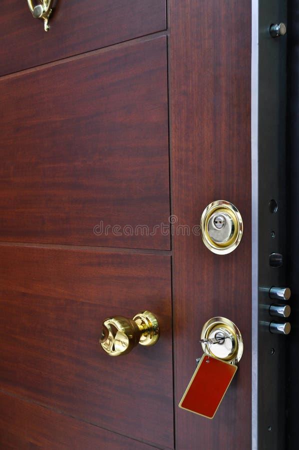 Sistema de aço da fechadura da porta fotografia de stock