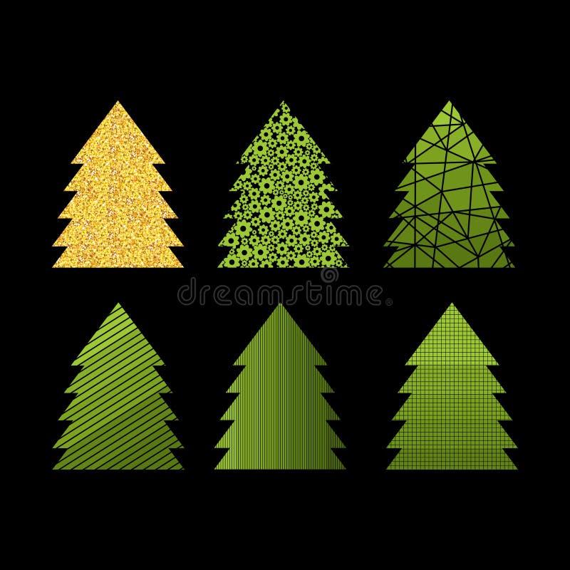 Sistema de Año Nuevo decorativo y de los árboles de navidad para las tarjetas y el diseño libre illustration