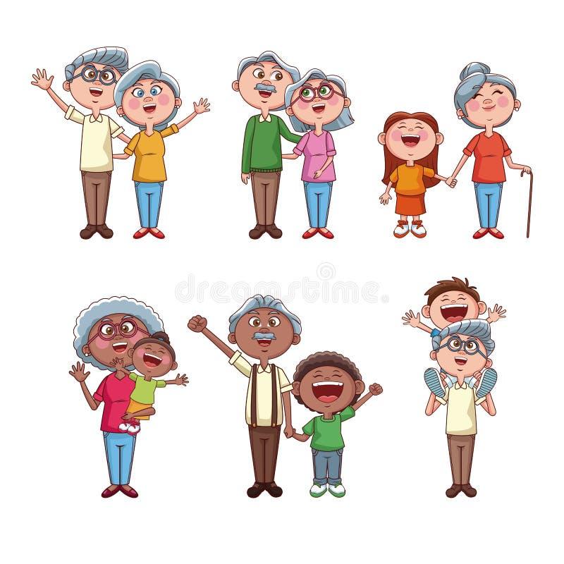 Sistema de abuelos con los niños libre illustration
