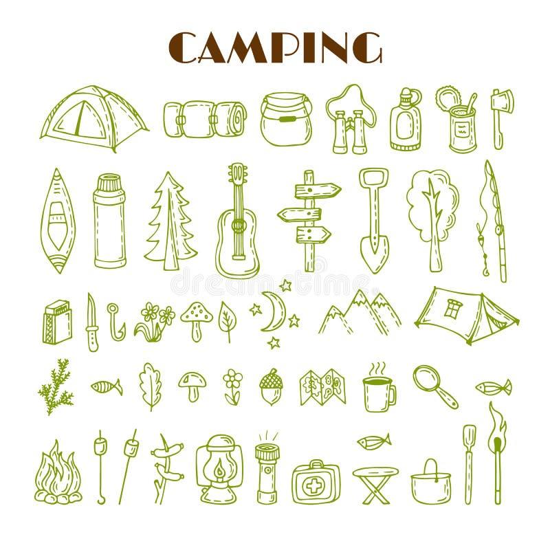 Sistema de acampar dibujado mano y de caminar el equipo Viaje y vacat libre illustration