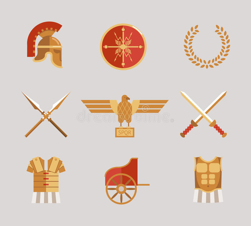 Sistema de accesorios antiguos del guerrero libre illustration