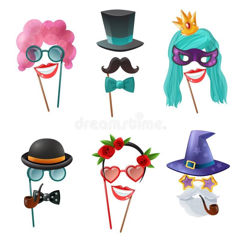 Sistema de accesorios del carnaval stock de ilustración