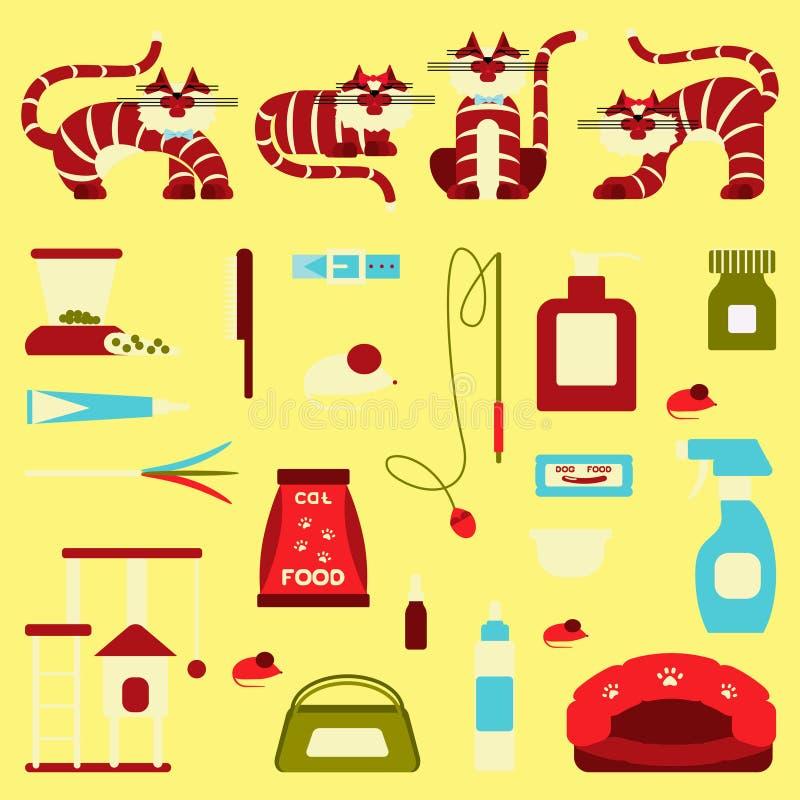 Sistema de accesorios del gato de la muestra libre illustration