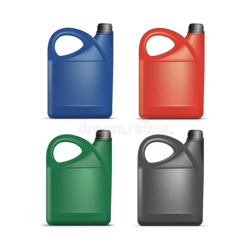 Sistema de aceite plástico en blanco del galón del bote del bidón stock de ilustración