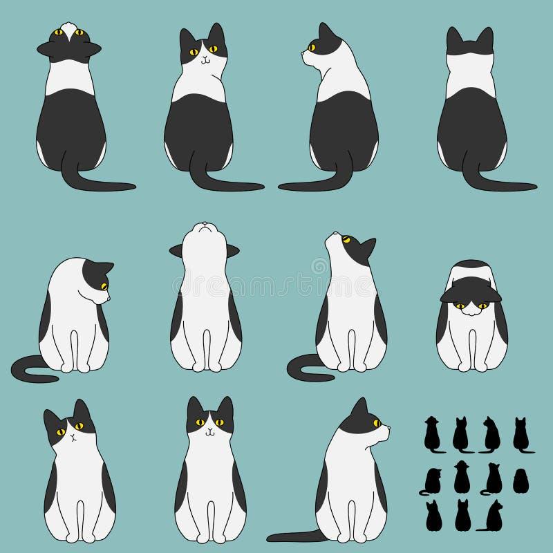 Sistema de actitudes de la sentada del gato ilustración del vector