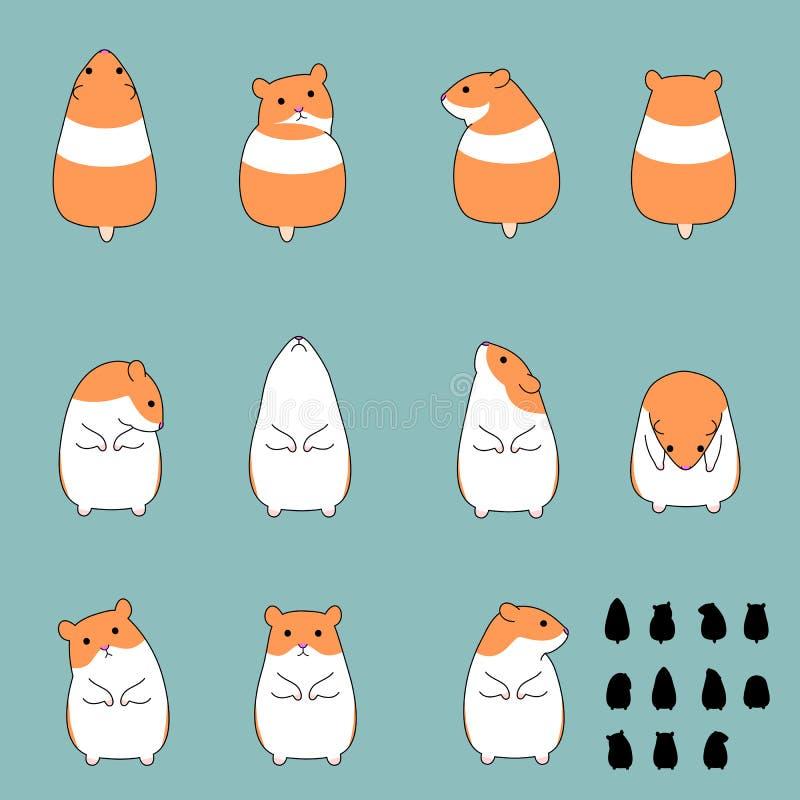 Sistema de actitudes de la sentada del hámster ilustración del vector