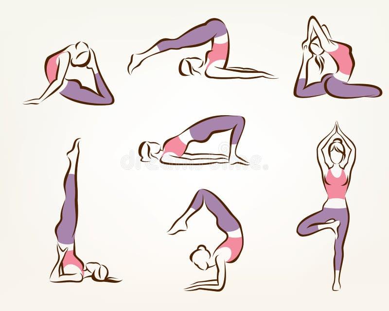 Sistema de actitudes de la yoga y de los pilates ilustración del vector