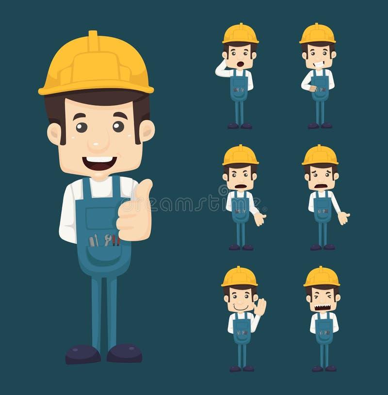 Sistema de actitudes de los caracteres del ingeniero stock de ilustración