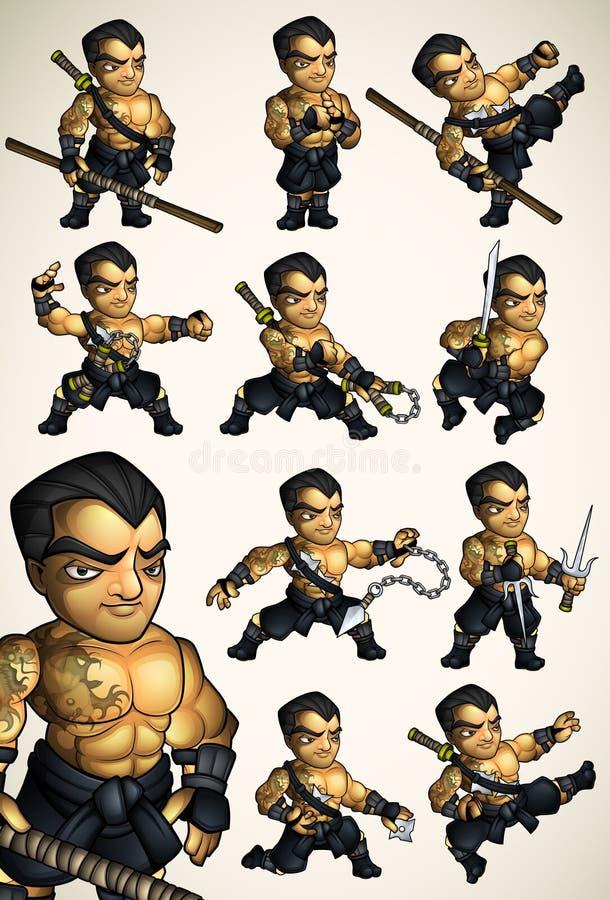Sistema de 11 actitudes de Ninja sin una camisa stock de ilustración