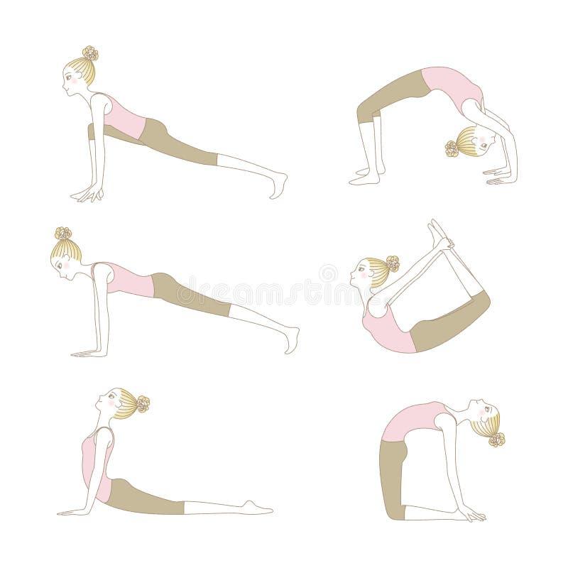 Sistema de actitudes de la yoga aislado en el fondo blanco stock de ilustración