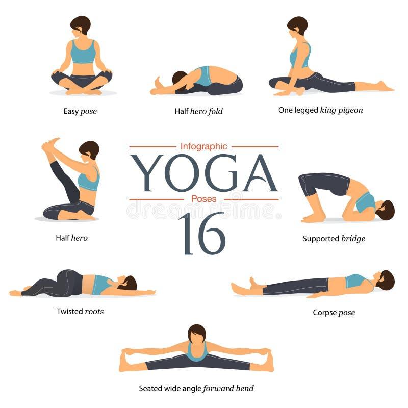 Sistema de 8 actitudes de la yoga en diseño plano La mujer figura ejercicio en camisa azul y los pantalones negros de la yoga par ilustración del vector