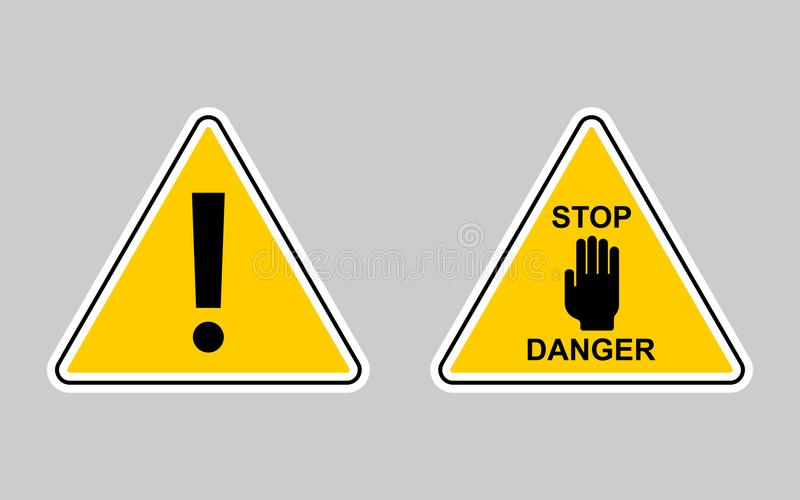 Sistema de advertencia - icono del vector Muestra amarilla amonestadora ilustración del vector