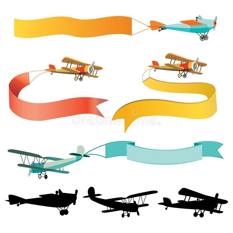 Sistema de aeroplanos del vintage con las banderas ilustración del vector