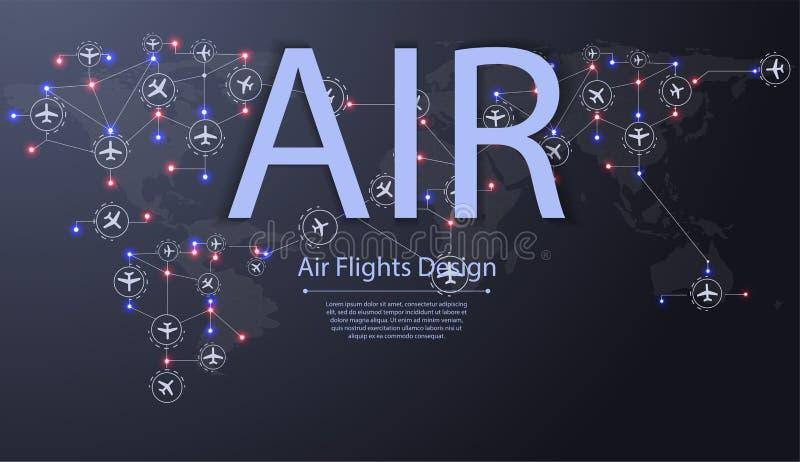 Sistema de aeroplanos que vuelan sobre mapa del mundo Destinos del vuelo plano La aviación encamina concepto ilustración del vector
