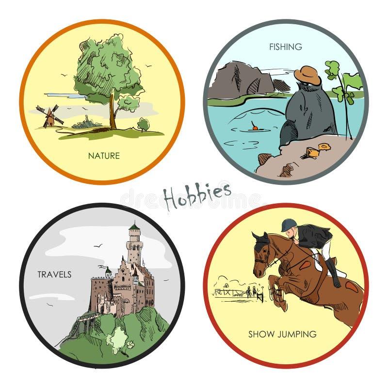 Sistema de aficiones, viaje, deporte, pesca, naturaleza del vector Dé las etiquetas engomadas, las etiquetas, los emblemas y los  libre illustration