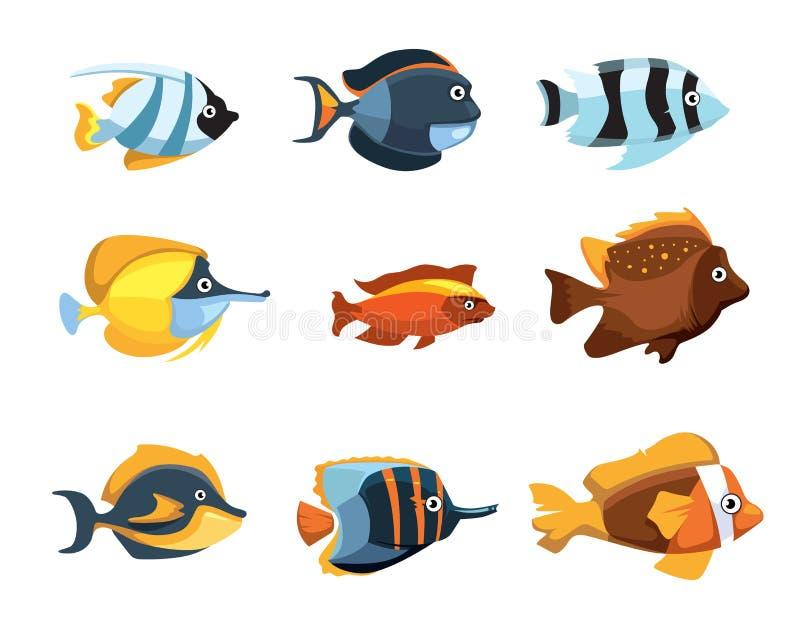 Sistema de agua dulce exótico tropical del vector de los pescados del acuario de la historieta linda ilustración del vector