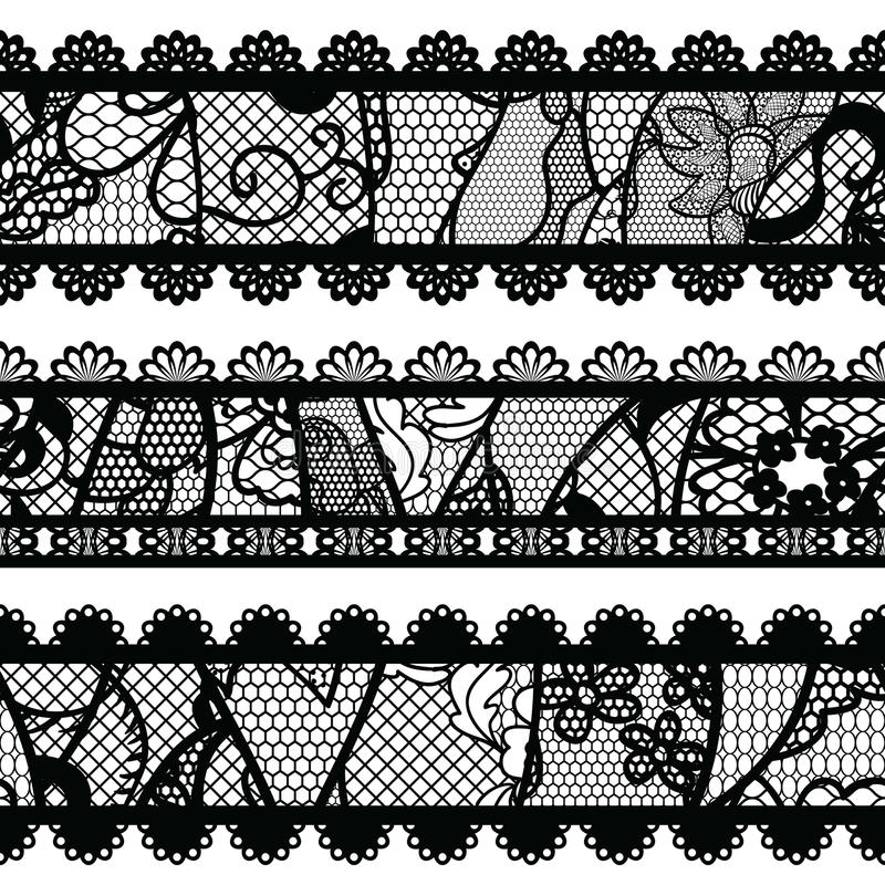 Sistema de ajustes de encaje del vintage. stock de ilustración