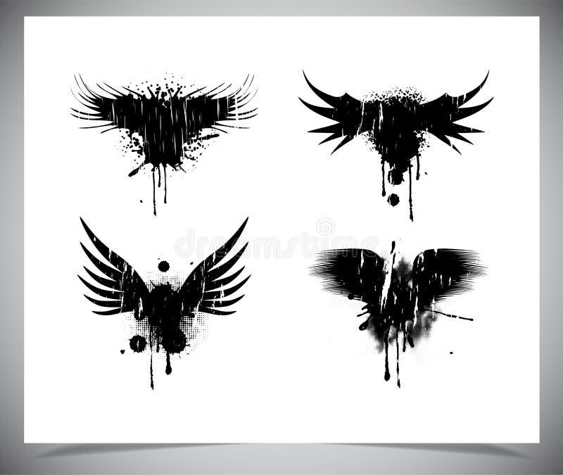 Sistema de alas negras del grunge. libre illustration