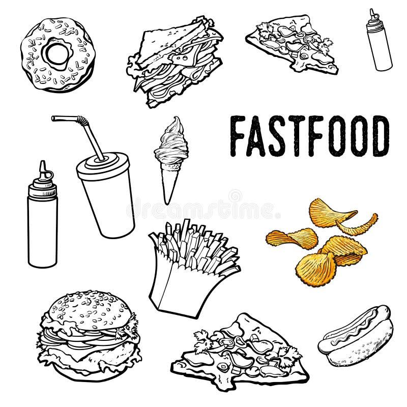 Sistema de alimentos de preparación rápida dibujados mano blanco y negro ilustración del vector