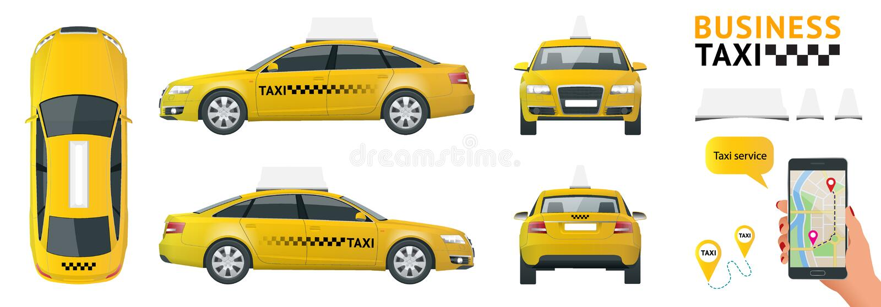 Sistema de alta calidad plano del icono del transporte del servicio de la ciudad Taxi del coche Construya su propia colección inf stock de ilustración