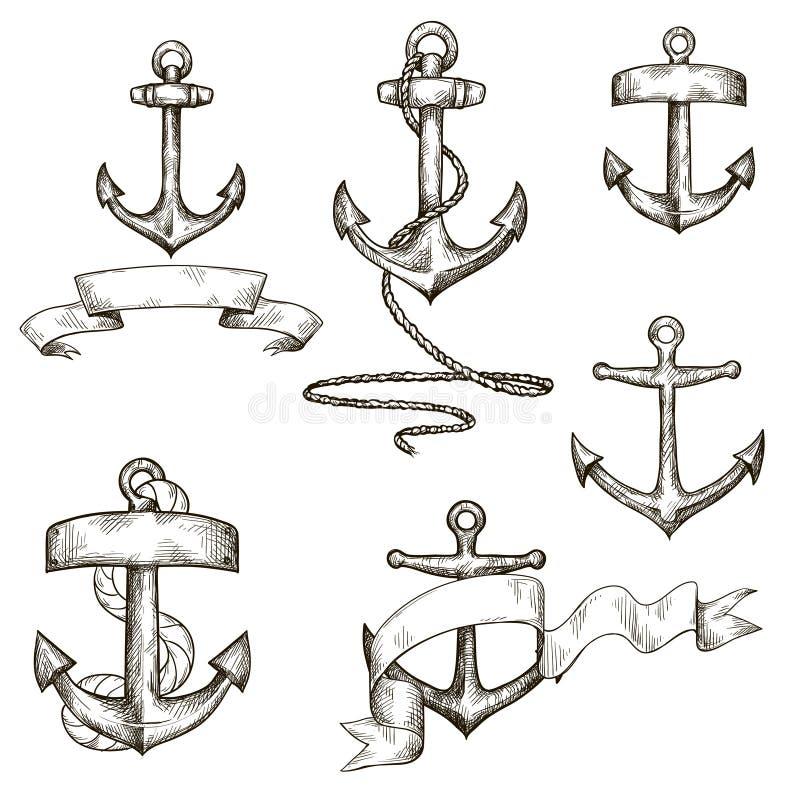 Sistema de anclas y de cintas dibujadas mano ilustración del vector