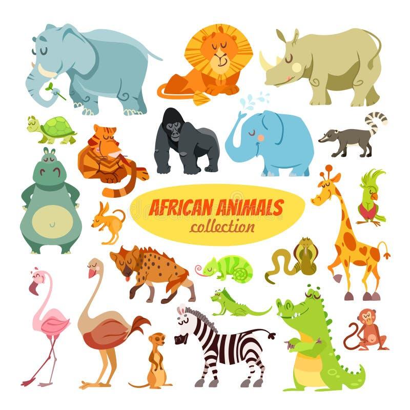 Sistema de animales del africano de la historieta ilustración del vector