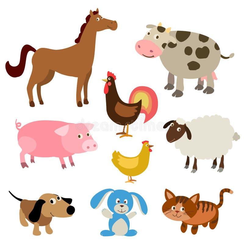 Sistema de animales del campo lindos de la historieta ilustración del vector