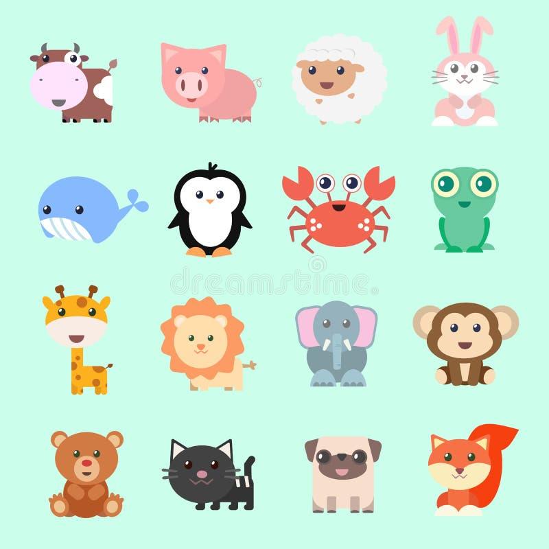 Sistema de animales divertidos del vector en estilo de la historieta Animales lindos en fondo del color stock de ilustración