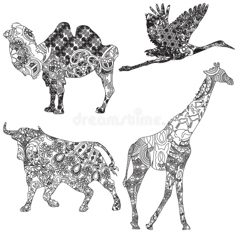 Sistema de animales en el ornamento étnico libre illustration