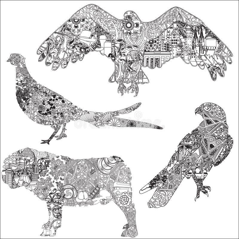 Sistema de animales en el ornamento libre illustration
