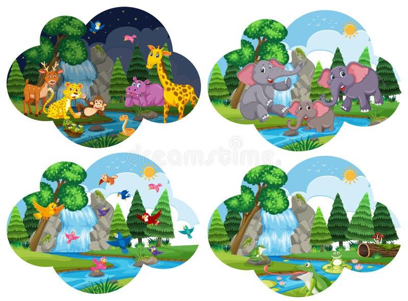 Sistema de animales en escenas libre illustration