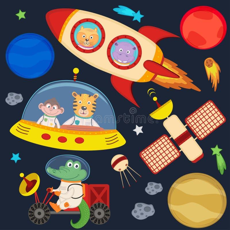 Sistema de animales en la parte 3 del espacio ilustración del vector