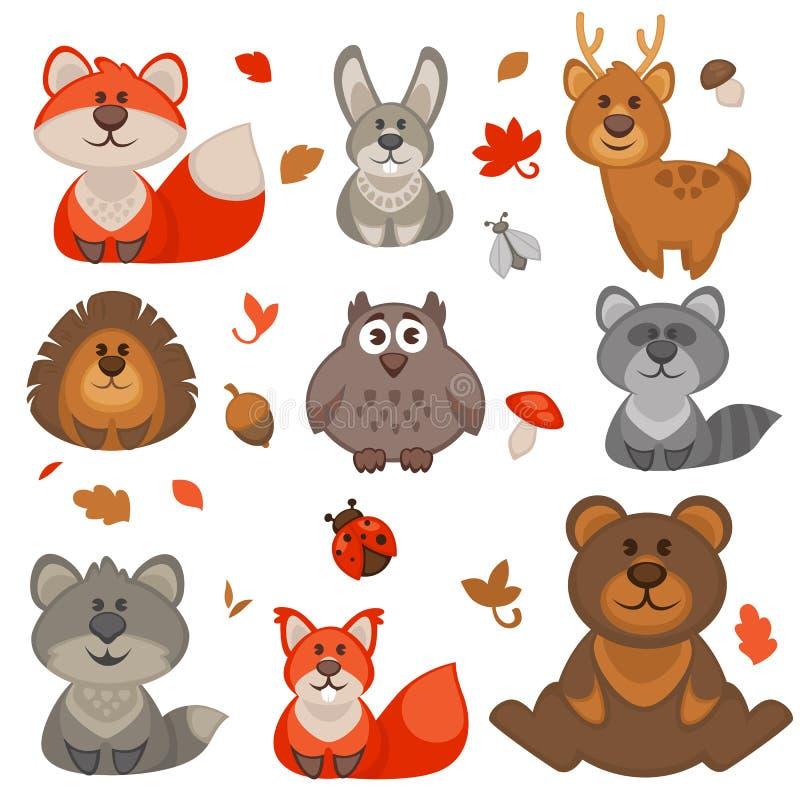 Sistema de animales lindos del bosque de la historieta stock de ilustración