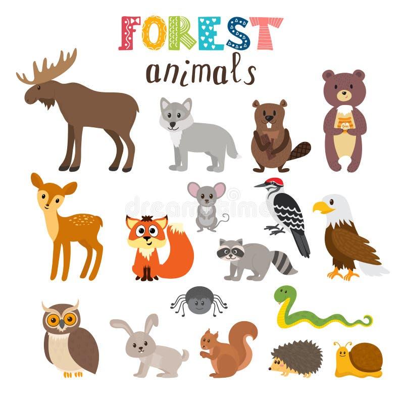 Sistema de animales lindos del bosque en vector arbolado Estilo de la historieta ilustración del vector