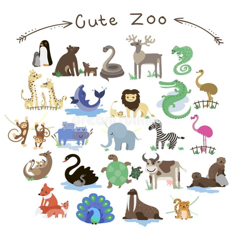 Sistema de animales lindos del parque zoológico del vector Muchos diversos animales stock de ilustración