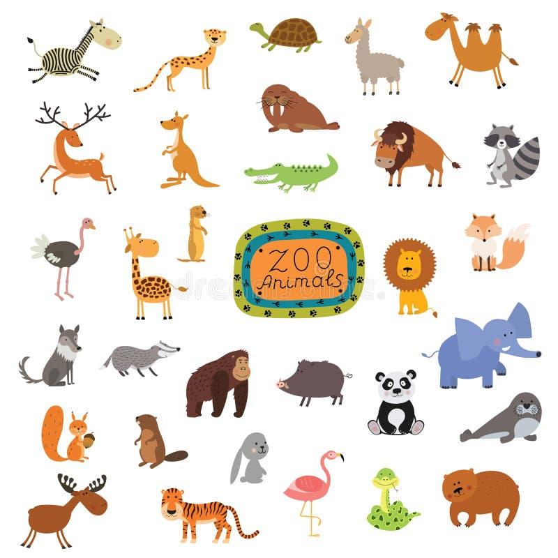 Sistema de animales lindos en el fondo blanco libre illustration