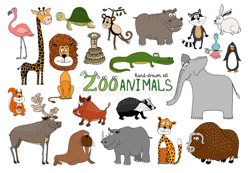 Sistema de animales a mano del parque zoológico libre illustration