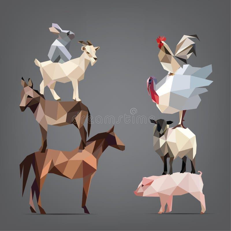 Sistema de animales que viven en la granja. ejemplo del vector libre illustration